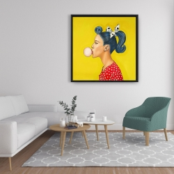 Framed 36 x 36 - Retro woman with beautiful ponytail