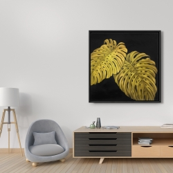 Framed 36 x 36 - Gold monstera
