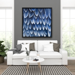 Framed 36 x 36 - Plumage blue