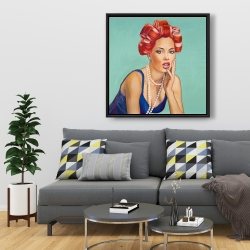 Framed 36 x 36 - Pin up girl with curlers