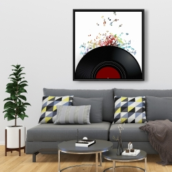 Framed 36 x 36 - Notes escaping from a vinyl record