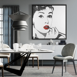 Framed 36 x 36 - Audrey hepburn outline style