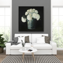 Framed 36 x 36 - White hydrangea flowers