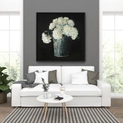 Framed 36 x 36 - White hydrangea flowers
