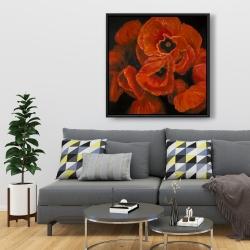 Framed 36 x 36 - Poppy bouquet
