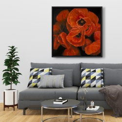 Framed 36 x 36 - Poppy bouquet