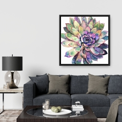 Framed 36 x 36 - Multicolored succulent
