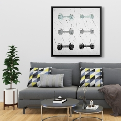 Framed 36 x 36 - Dumbbells