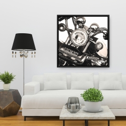 Framed 36 x 36 - Realistic sepia motorcycle
