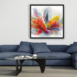 Framed 36 x 36 - Abstract flower with texture