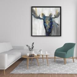 Framed 36 x 36 - Blue moose