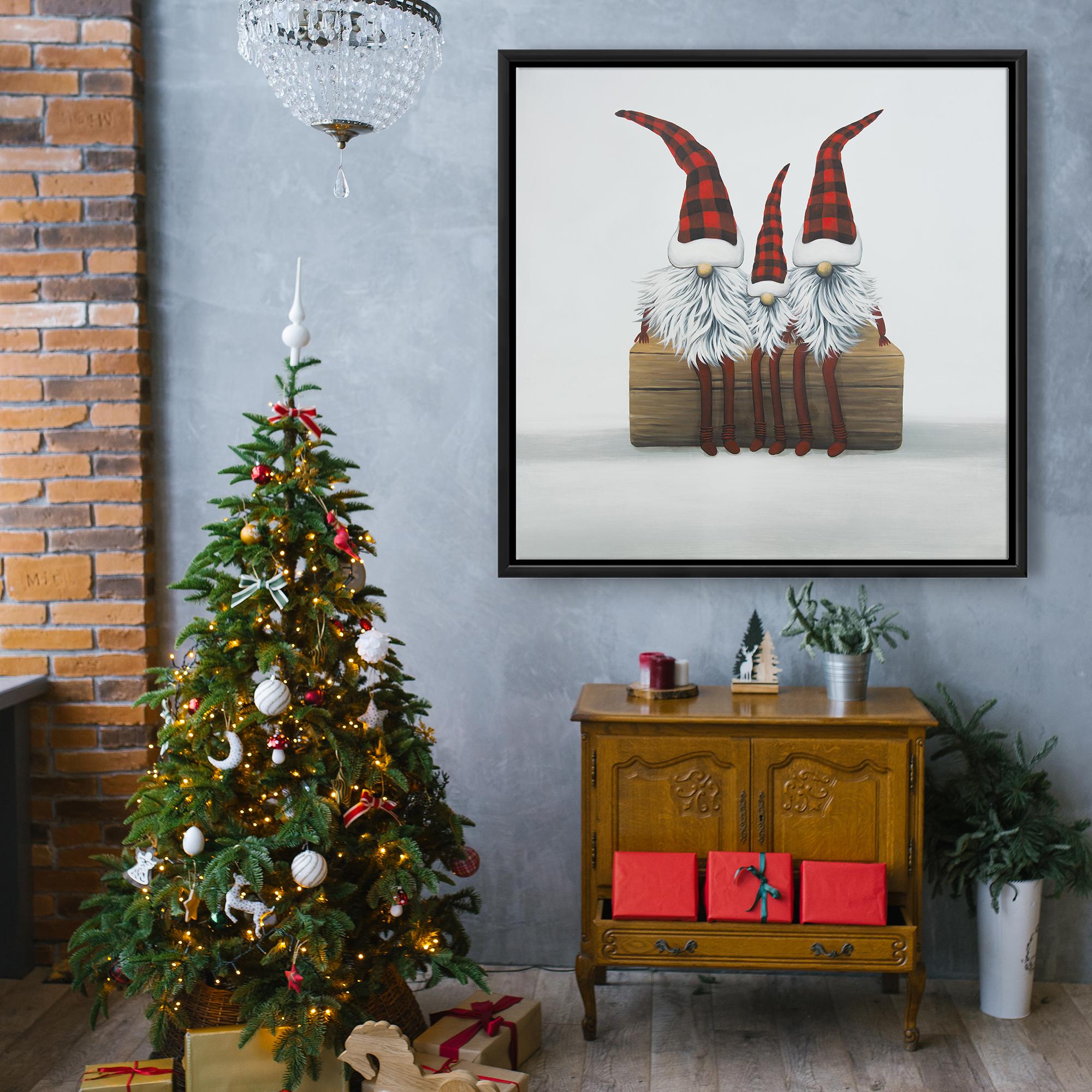 Framed 36 x 36 - Three christmas gnomes