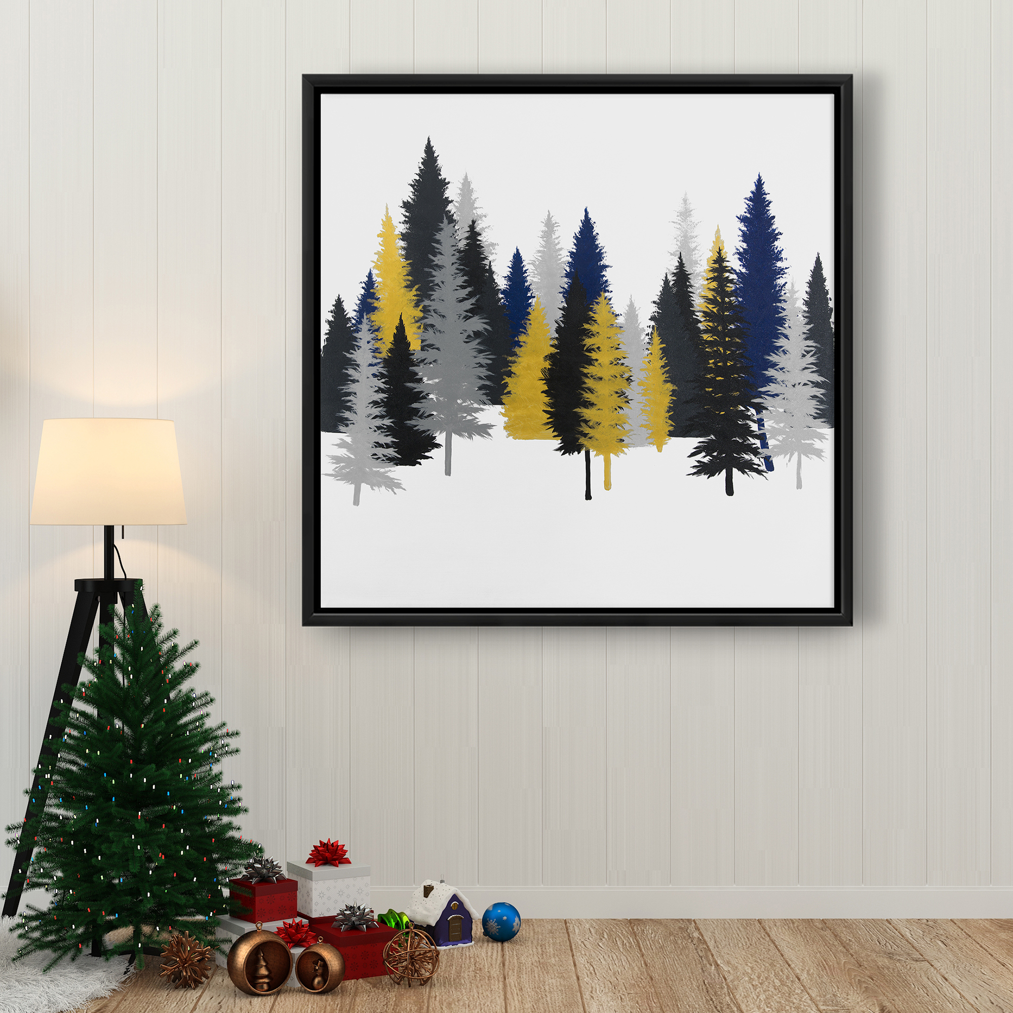 Framed 36 x 36 - Golden fir