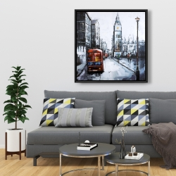Framed 36 x 36 - Abstract london and red bus