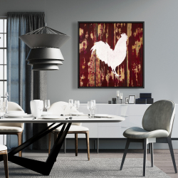Framed 36 x 36 - Rooster silhouette