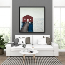 Framed 36 x 36 - Boathouse