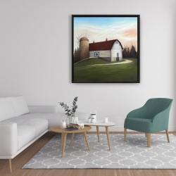 Framed 36 x 36 - White barn view