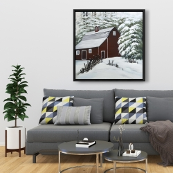 Framed 36 x 36 - Red barn in snow