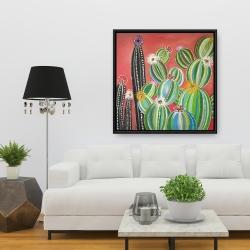 Framed 36 x 36 - Rainbow cactus