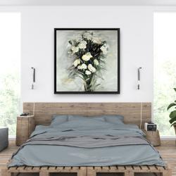 Framed 36 x 36 - Lisianthus white bouquet
