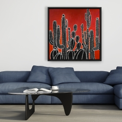 Framed 36 x 36 - Black tall cactus