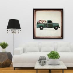 Framed 36 x 36 - Flowers farm truck