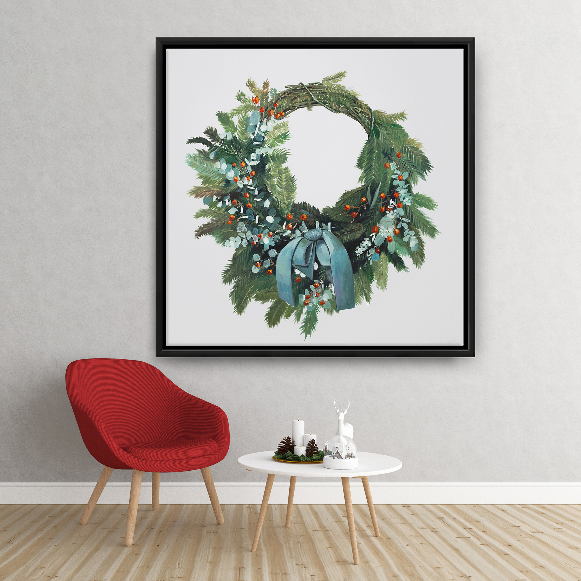 Framed 36 x 36 - Christmas wreath