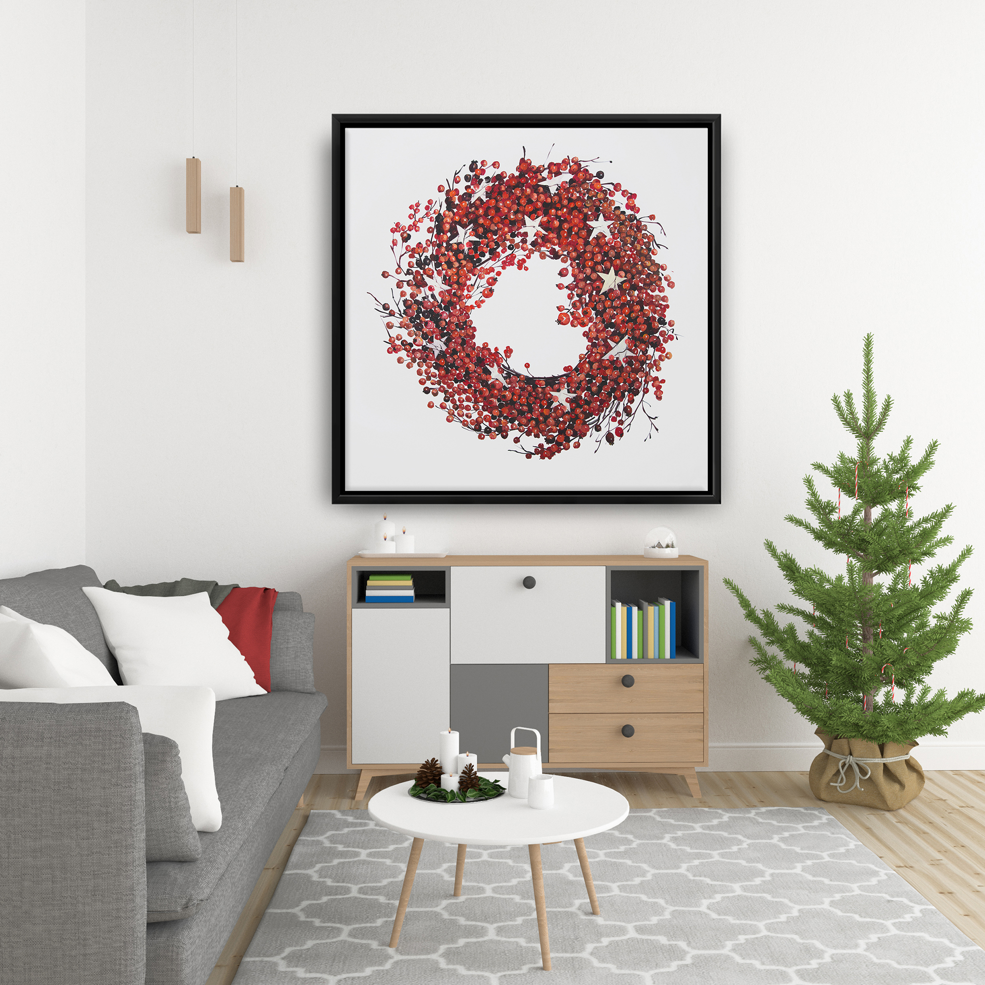 Framed 36 x 36 - Red berry wreath