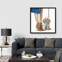 Framed 36 x 36 - Fashionable cavoodle dog
