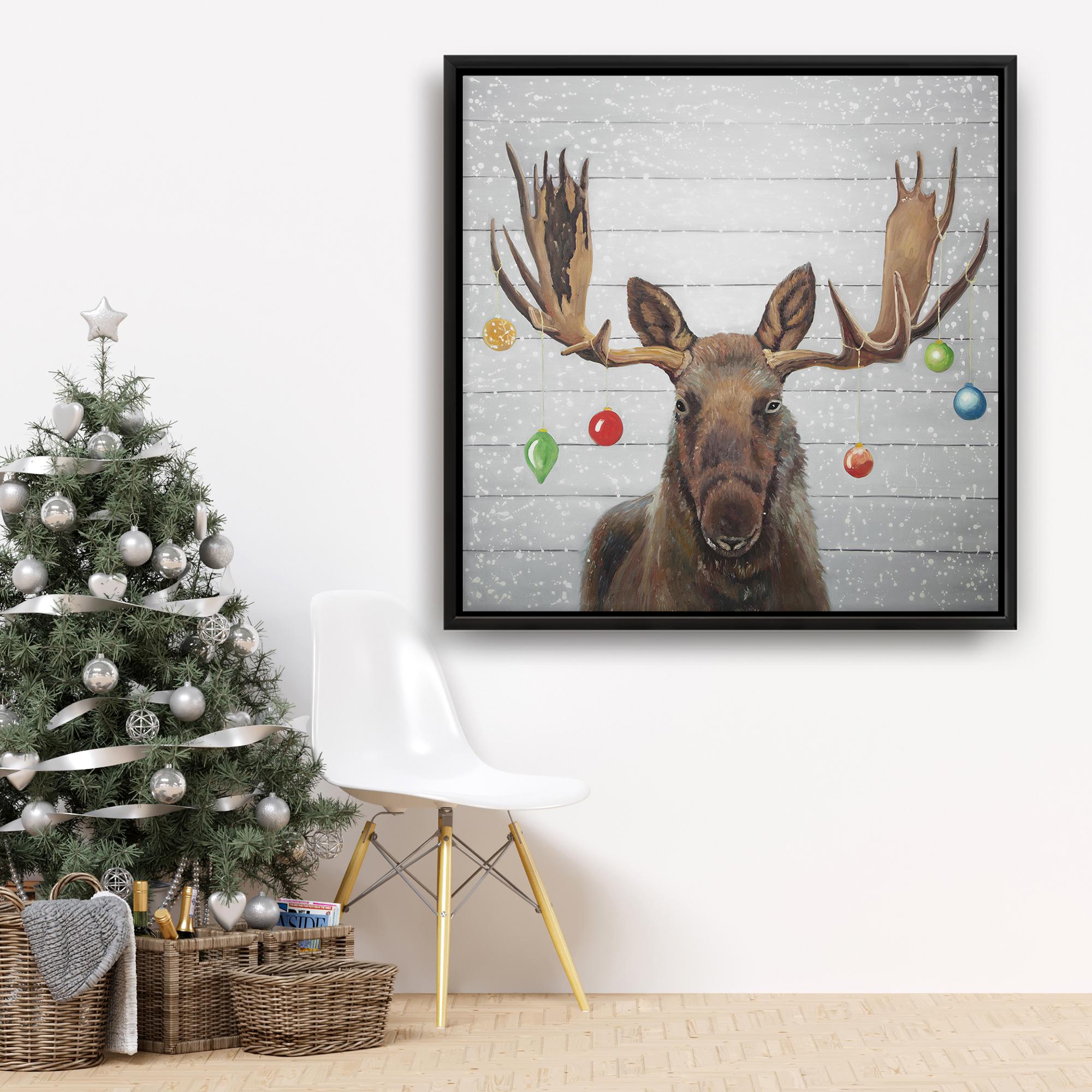 Framed 36 x 36 - Moose has christmas balls