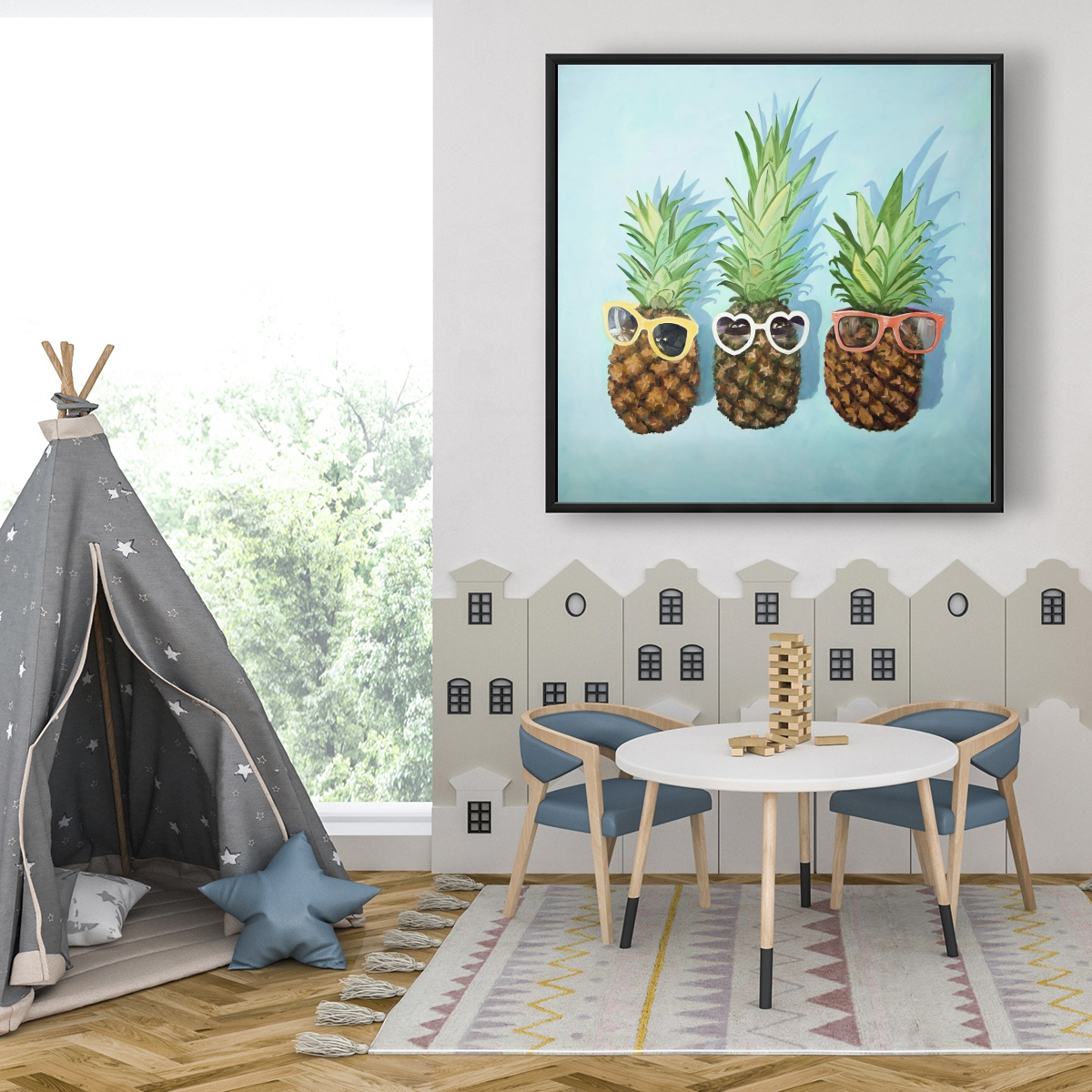 Framed 36 x 36 - Summer pineapples