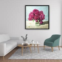 Framed 36 x 36 - Fuchsia peony