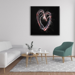 Framed 36 x 36 - Red & blue fireworks heart
