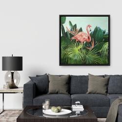 Framed 36 x 36 - Tropical flamingo