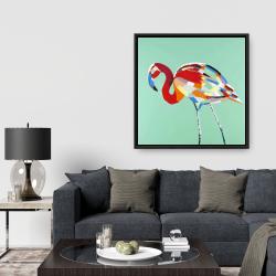 Framed 36 x 36 - Multicolored flamingo