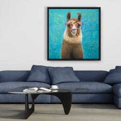 Framed 36 x 36 - Lovable llama