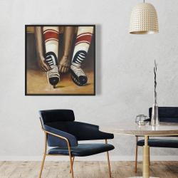 Framed 36 x 36 - Hockey player ties his skates