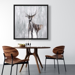 Framed 36 x 36 - Abstract deer in the forest