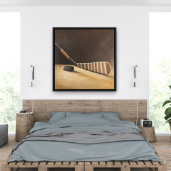 Framed 36 x 36 - Stick and hockey puck