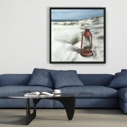 Framed 36 x 36 - Lantern on the beach
