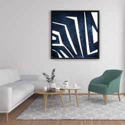 Framed 36 x 36 - Blue labyrinth
