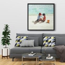 Framed 36 x 36 - Little girls at the beach
