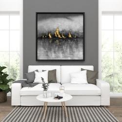 Framed 36 x 36 - Gold sailboats