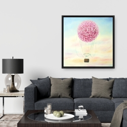 Framed 36 x 36 - Hot air balloon hydrangea flowers