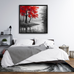 Framed 36 x 36 - Red trees and lake
