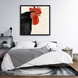 Framed 36 x 36 - Black hen