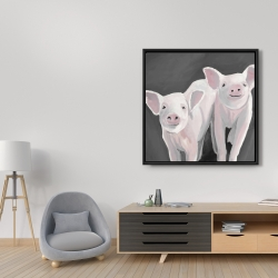 Framed 36 x 36 - Two little piglets