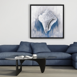 Framed 36 x 36 - Blue conical shell