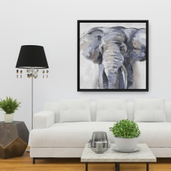 Framed 36 x 36 - Pastel blue elephant