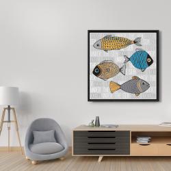 Framed 36 x 36 - Fishes' illustration
